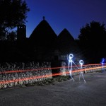 Light painting à Alberobello en Italie