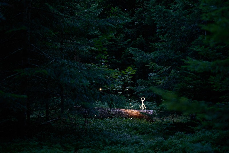 L'esprit de la forêt en light painting avec un enfant assis sur un tronc tombé. Réalisé avec le Sigma 50mm 1.4 Art
